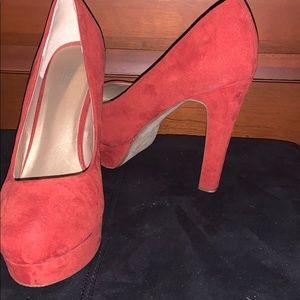 Orange platform heels